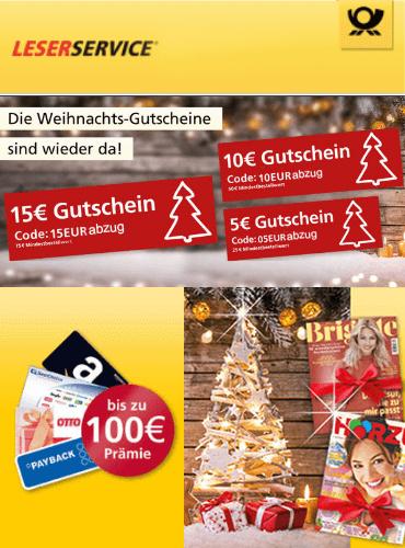 Bis zu 15,00 € Rabatt beim Leserservice der deutschen Post