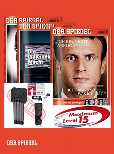 """12 Hefte SPIEGEL mit ABUS-Schloss """"Bordo X-Plus 6500/85"""" als Prämie"""
