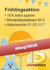 10,00 € sparen beim LESERSERVICE Frühjahrs-Endspurt