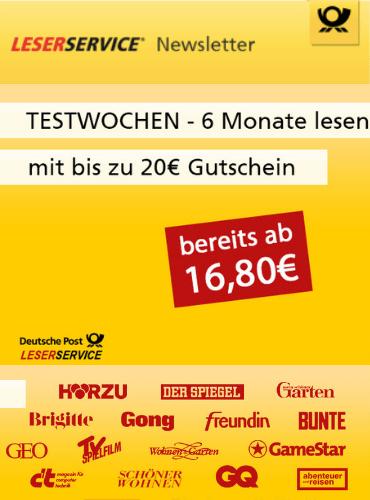 6-Monatsabos mit 5,00 € Rabatt und 15,00 € Prämie + Gratismonat