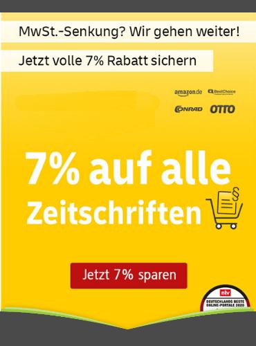 Aktion zur Mehrwertsteuersenkung: 7% Rabatt auf das gesamte Sortiment beim Leserservice der deutschen Post