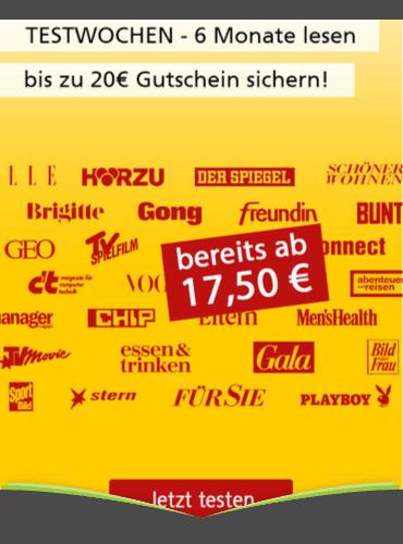 6-Monatsabos mit 5,00 € Rabatt und 15,00 € Prämie