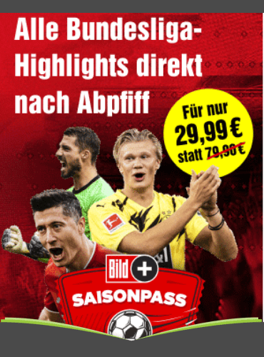 BILDplus Jahresabo mit 63% Rabatt für 29,99 € inkl. Bundesliga Saisonpass