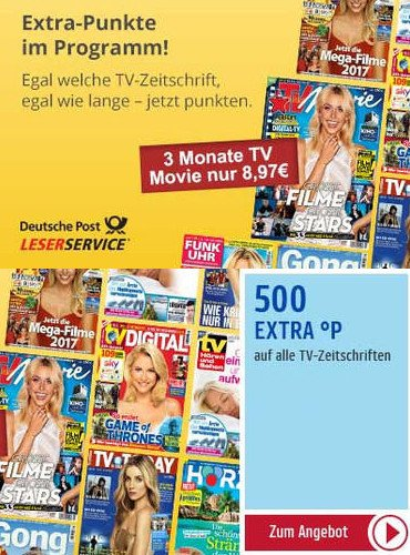 500 PAYBACKPunkte extra zu jedem TV-Zeitschriften Abo beim LESERservice